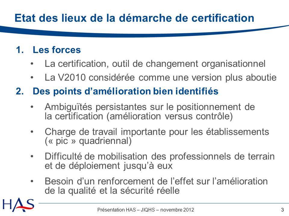 3Présentation HAS – JIQHS – novembre 2012 Etat des lieux de la démarche de certification 1.Les forces La certification, outil de changement organisati