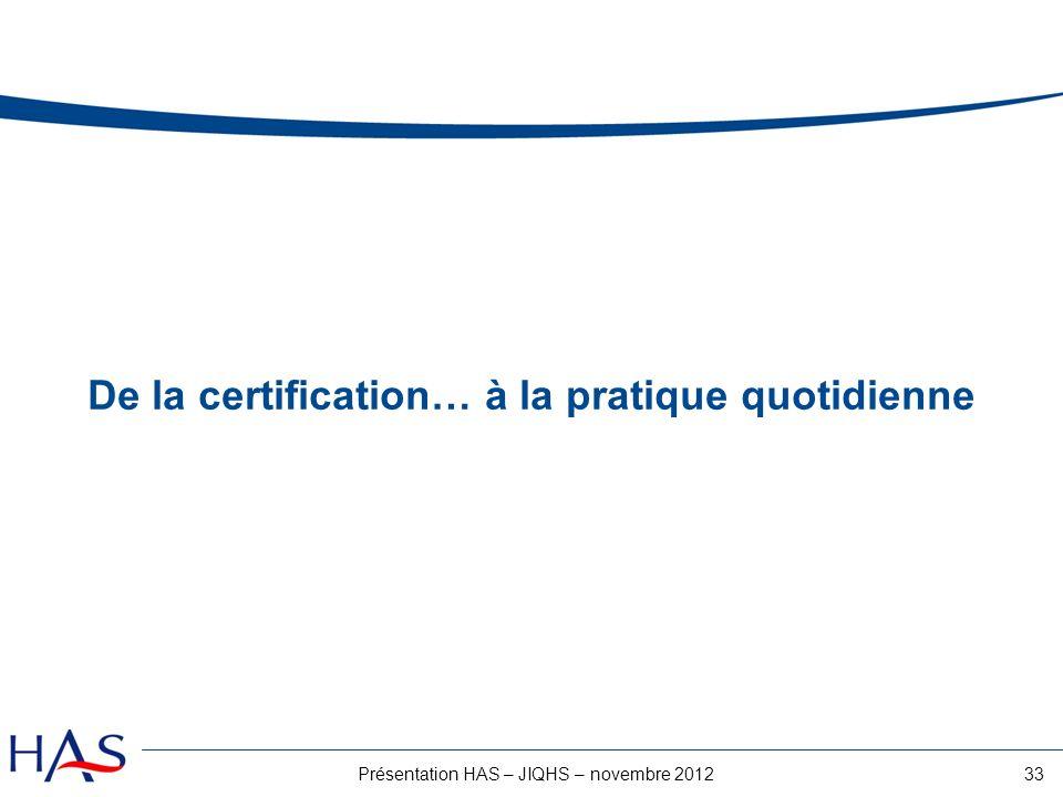 33Présentation HAS – JIQHS – novembre 2012 De la certification… à la pratique quotidienne
