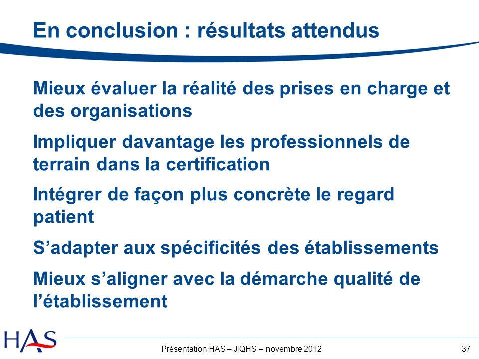 37Présentation HAS – JIQHS – novembre 2012 En conclusion : résultats attendus Mieux évaluer la réalité des prises en charge et des organisations Impli