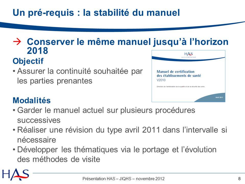 8Présentation HAS – JIQHS – novembre 2012 Un pré-requis : la stabilité du manuel Conserver le même manuel jusquà lhorizon 2018 Objectif Assurer la con