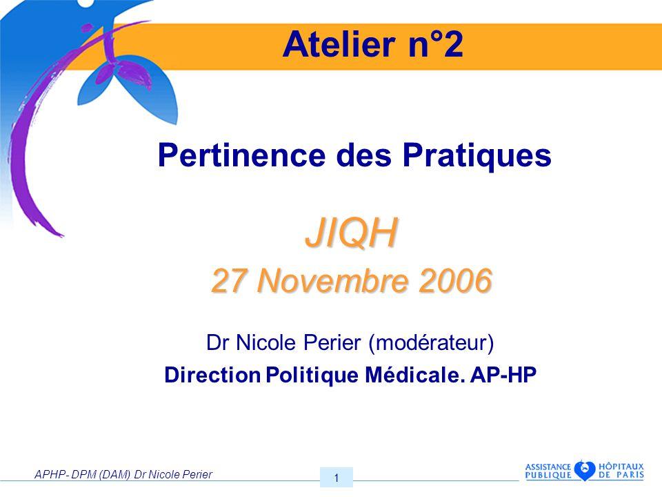 APHP- DPM (DAM) Dr Nicole Perier 1. Pertinence des PratiquesJIQH 27 Novembre 2006 Dr Nicole Perier (modérateur) Direction Politique Médicale. AP-HP At