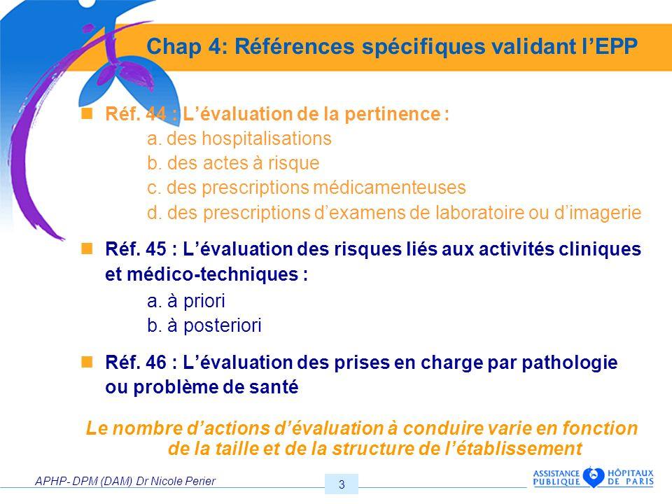 APHP- DPM (DAM) Dr Nicole Perier 3 Chap 4: Références spécifiques validant lEPP Réf. 44 : Lévaluation de la pertinence : a. des hospitalisations b. de