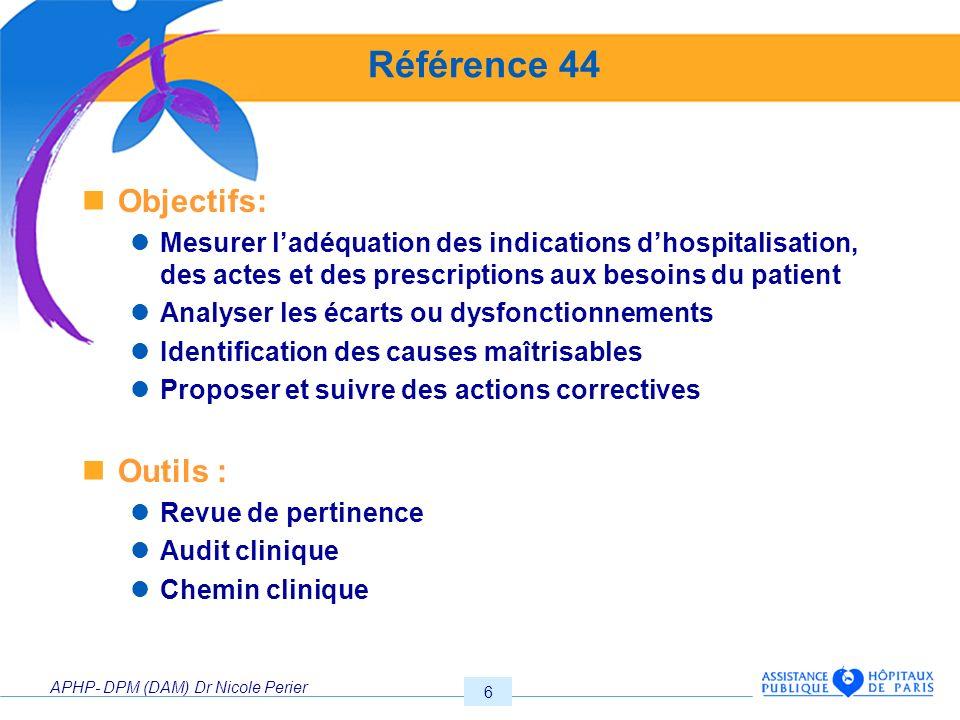 APHP- DPM (DAM) Dr Nicole Perier 6 Référence 44 Objectifs: Mesurer ladéquation des indications dhospitalisation, des actes et des prescriptions aux be