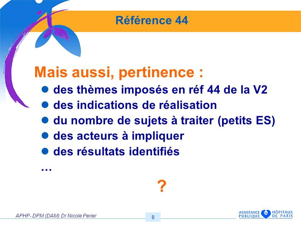 APHP- DPM (DAM) Dr Nicole Perier 9 Atelier n°2.Pertinence des Pratiques 1.44a.