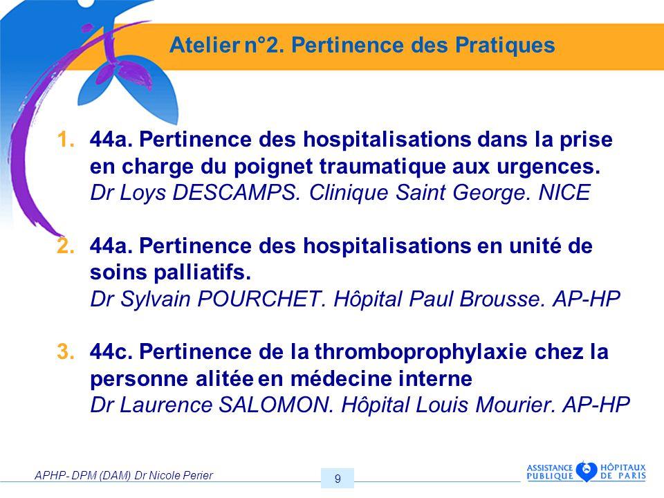 APHP- DPM (DAM) Dr Nicole Perier 9 Atelier n°2. Pertinence des Pratiques 1.44a. Pertinence des hospitalisations dans la prise en charge du poignet tra