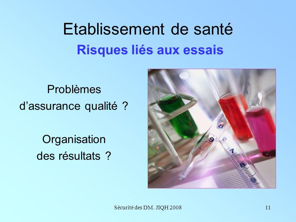 Sécurité des DM. JIQH 200810 Etablissement de santé Risques liés aux achats Problématique des groupements régionaux et nationaux Effet seuil qualité/v