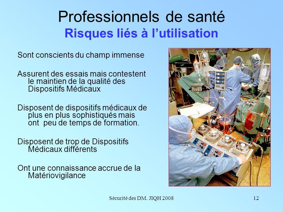 Sécurité des DM. JIQH 200811 Etablissement de santé Risques liés aux essais Problèmes dassurance qualité ? Organisation des résultats ?