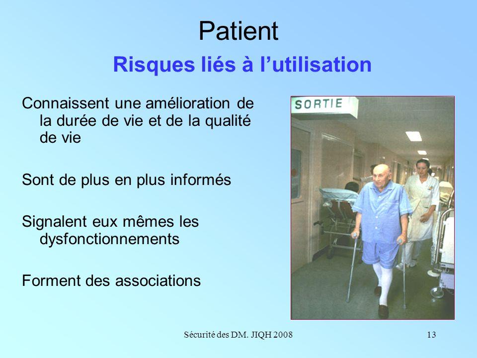 Sécurité des DM. JIQH 200812 Professionnels de santé Risques liés à lutilisation Sont conscients du champ immense Assurent des essais mais contestent