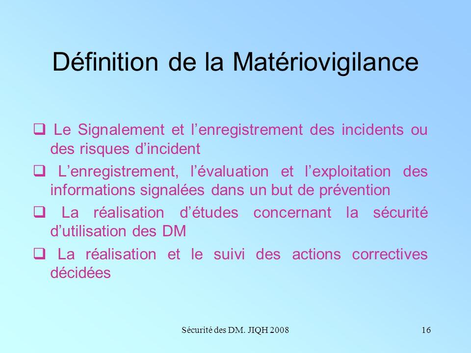 Sécurité des DM. JIQH 200815 Matériovigilance Gestion des risques au quotidien Au niveau national Au niveau local