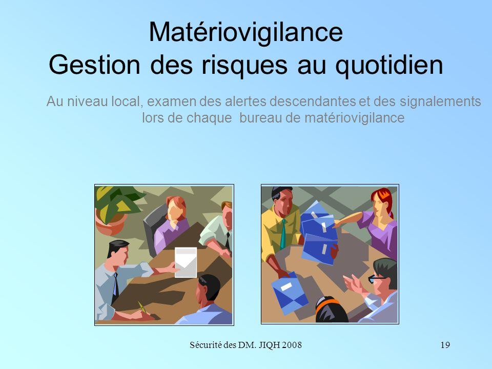 Sécurité des DM. JIQH 200818 Au niveau local Le correspondant local... recueille, analyse et évalue les incidents enregistrés transmet les déclaration