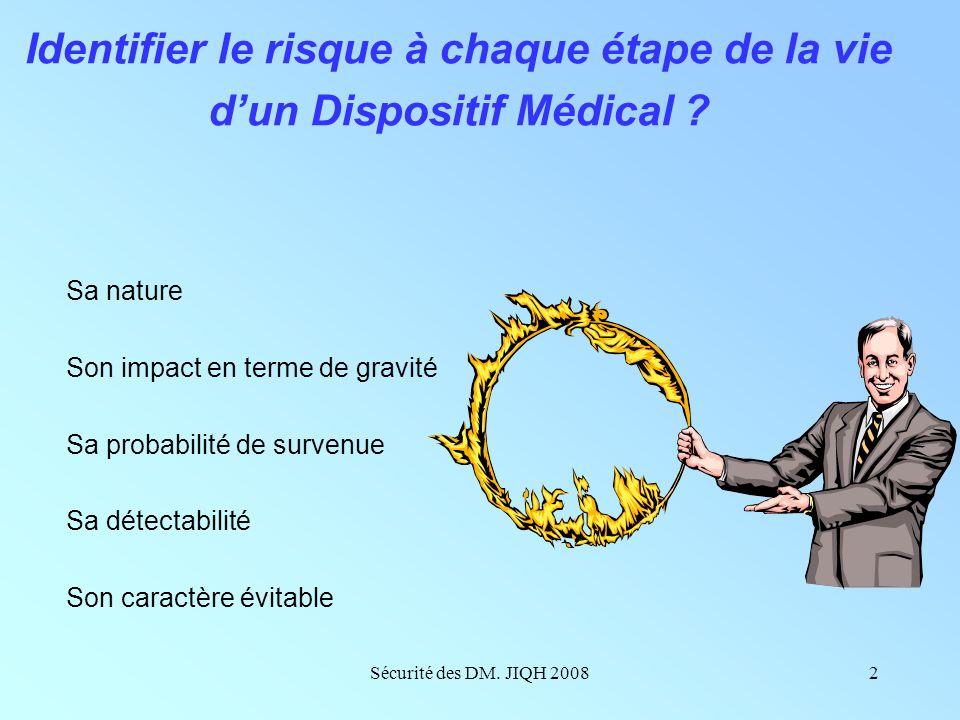 Sécurité des DM. JIQH 20081 JIQH le lundi 8 décembre 2008 Josseline Bertrand-Barat CHU de Bordeaux Université de Bordeaux 2 Maîtrise de la sécurité et