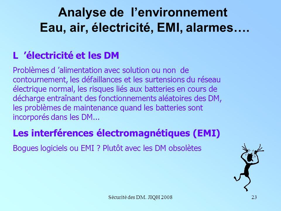 Sécurité des DM. JIQH 200822 Analyse de lenvironnement Eau, air, électricité, EMI, alarmes…. L eau et les DM : pour l hémodialyse, mais aussi pour le