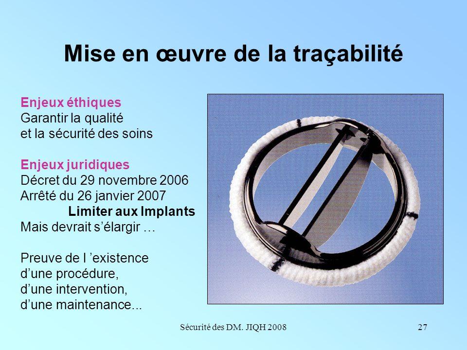 Sécurité des DM. JIQH 200826 Mise en œuvre de lanalyse des causes Problèmes dorganisation Défauts de maintenance curative et préventive Inventaires no