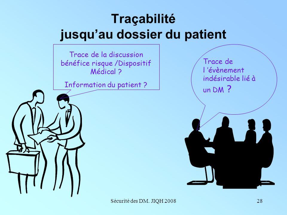 Sécurité des DM. JIQH 200827 Mise en œuvre de la traçabilité Enjeux éthiques Garantir la qualité et la sécurité des soins Enjeux juridiques Décret du