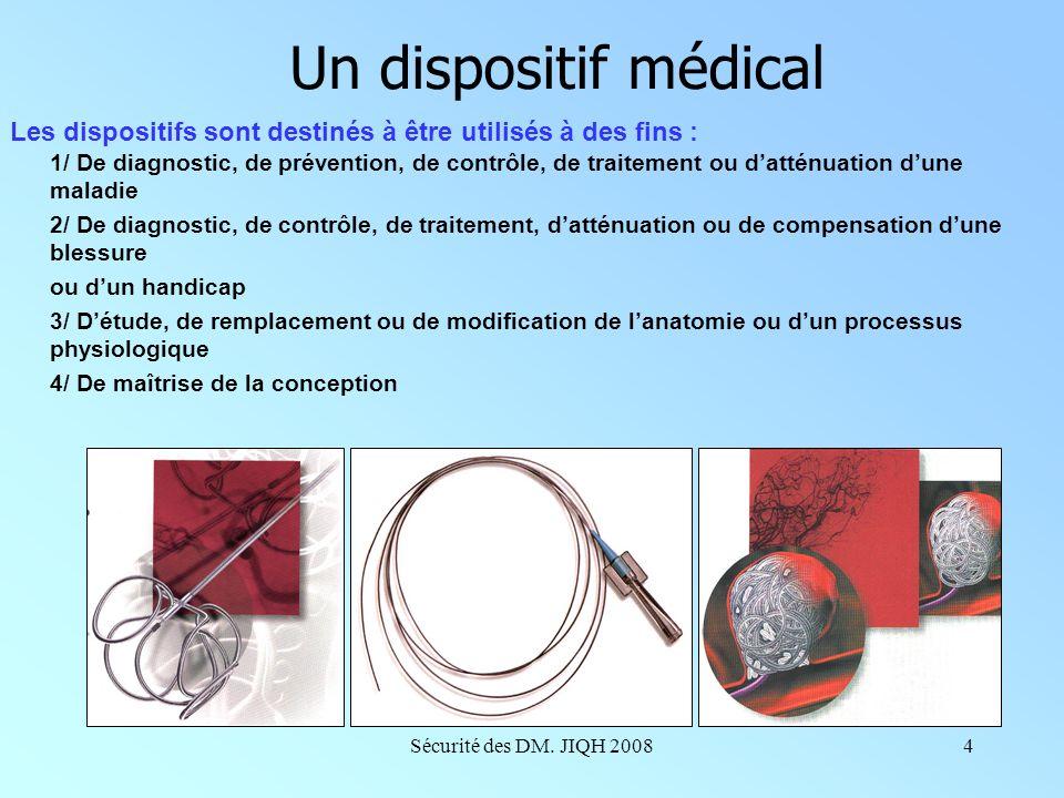 Sécurité des DM. JIQH 20083 Un dispositif médical Le dispositif médical est défini dans le code de la santé publique (articles L 5211-1 et R 5211-1)