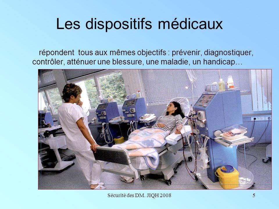 Sécurité des DM. JIQH 20084 Un dispositif médical Les dispositifs sont destinés à être utilisés à des fins : 1/ De diagnostic, de prévention, de contr