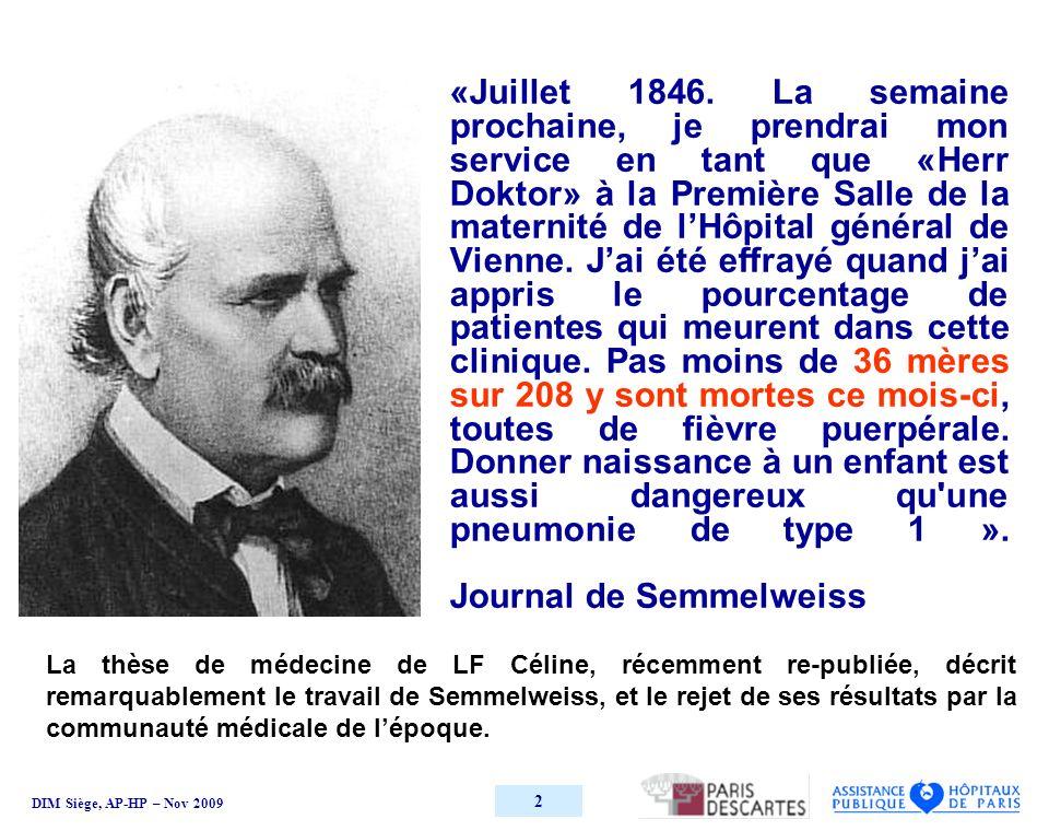DIM Siège, AP-HP – Nov 2009 2 «Juillet 1846.