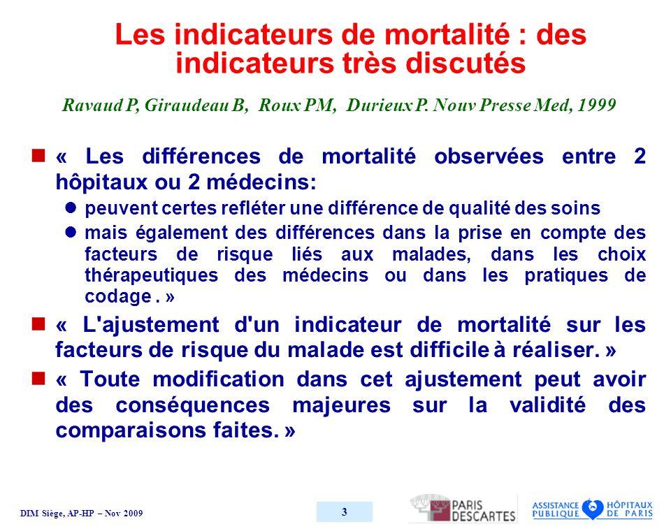 DIM Siège, AP-HP – Nov 2009 4 Mortalité hospitalière. Taux bruts Données AP-HP 2007. Hôpitaux MCO.