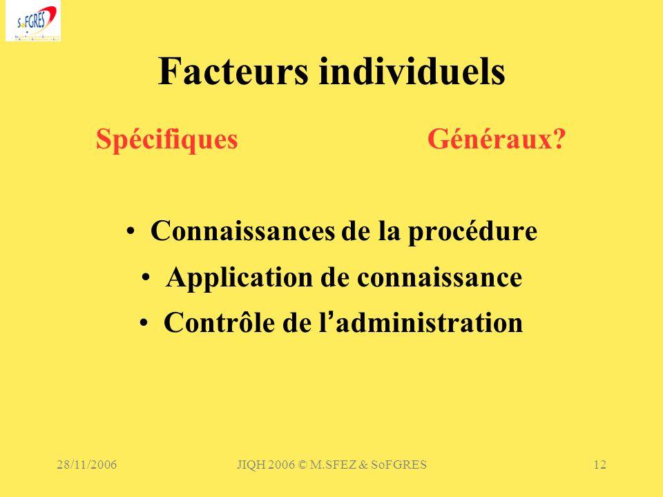 28/11/2006JIQH 2006 © M.SFEZ & SoFGRES12 Facteurs individuels SpécifiquesGénéraux? Connaissances de la procédure Application de connaissance Contrôle