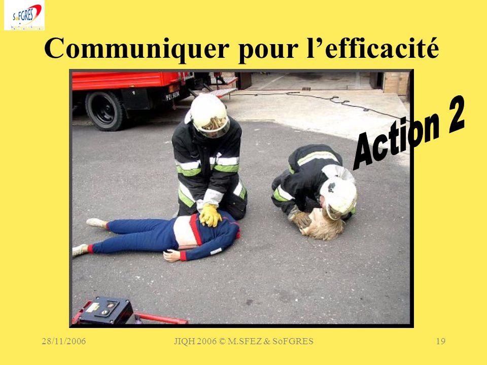 28/11/2006JIQH 2006 © M.SFEZ & SoFGRES19 Communiquer pour lefficacité