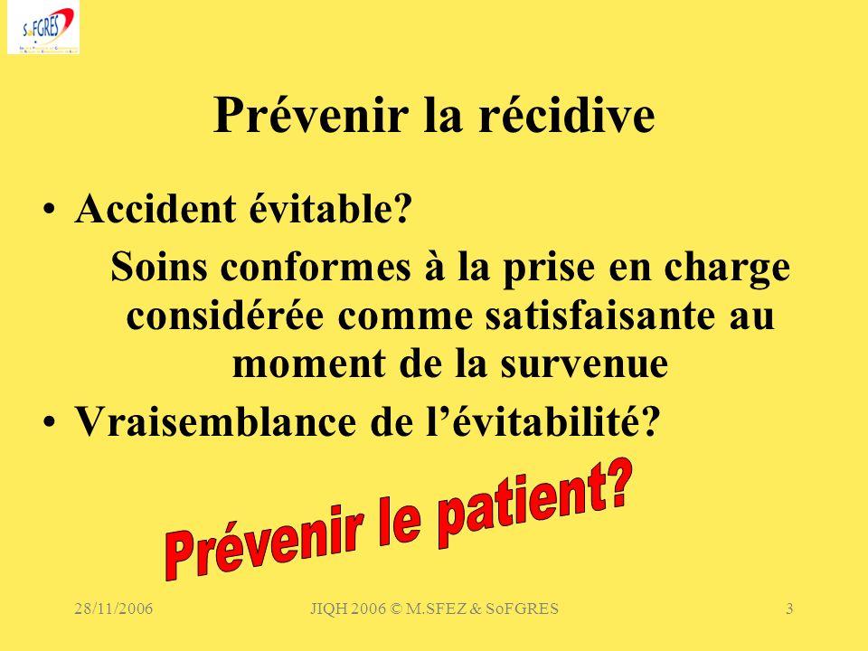 28/11/2006JIQH 2006 © M.SFEZ & SoFGRES3 Prévenir la récidive Accident évitable? Soins conformes à la prise en charge considérée comme satisfaisante au