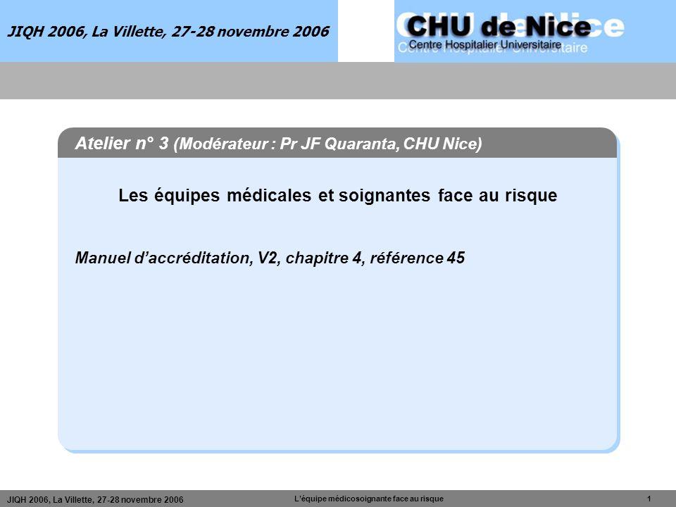 JIQH 2006, La Villette, 27-28 novembre 2006 Léquipe médicosoignante face au risque 1 JIQH 2006, La Villette, 27-28 novembre 2006 Atelier n° 3 (Modérat