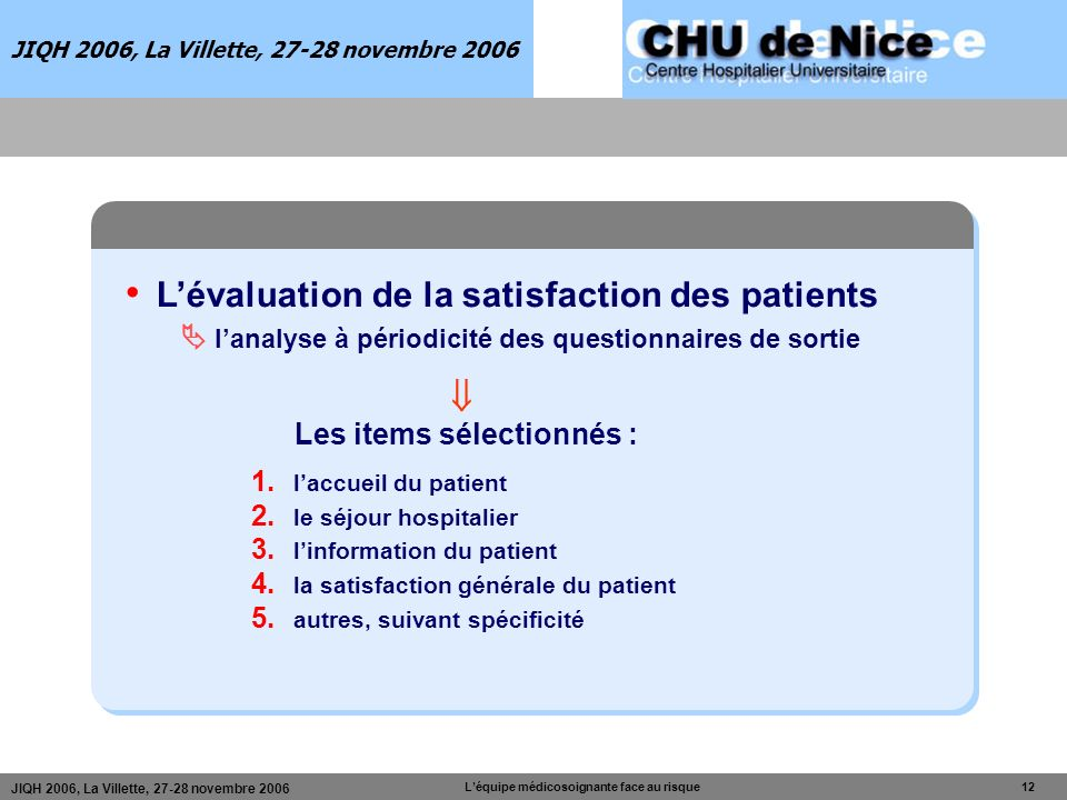 JIQH 2006, La Villette, 27-28 novembre 2006 Léquipe médicosoignante face au risque 12 JIQH 2006, La Villette, 27-28 novembre 2006 Lévaluation de la sa