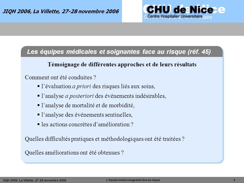 JIQH 2006, La Villette, 27-28 novembre 2006 Léquipe médicosoignante face au risque 2 JIQH 2006, La Villette, 27-28 novembre 2006 Témoignage de différe