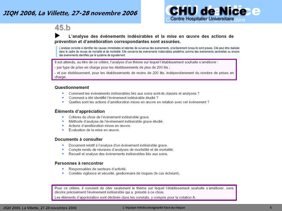 Léquipe médicosoignante face au risque 5 JIQH 2006, La Villette, 27-28 novembre 2006