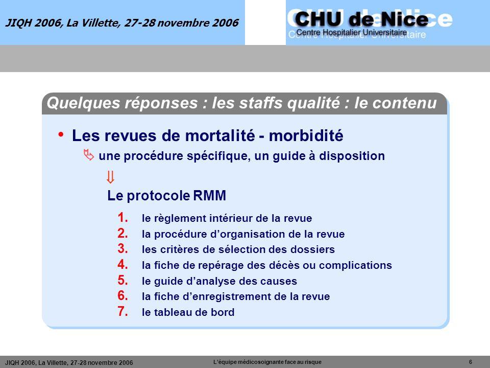 Léquipe médicosoignante face au risque 6 JIQH 2006, La Villette, 27-28 novembre 2006 Les revues de mortalité - morbidité une procédure spécifique, un