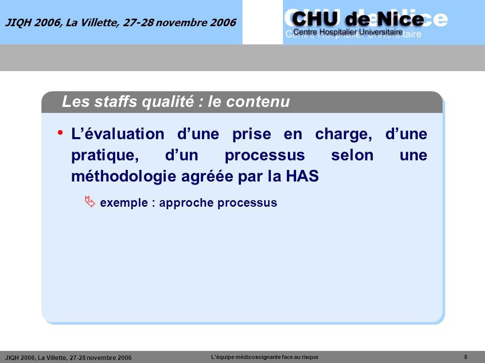 JIQH 2006, La Villette, 27-28 novembre 2006 Léquipe médicosoignante face au risque 8 JIQH 2006, La Villette, 27-28 novembre 2006 Les staffs qualité :