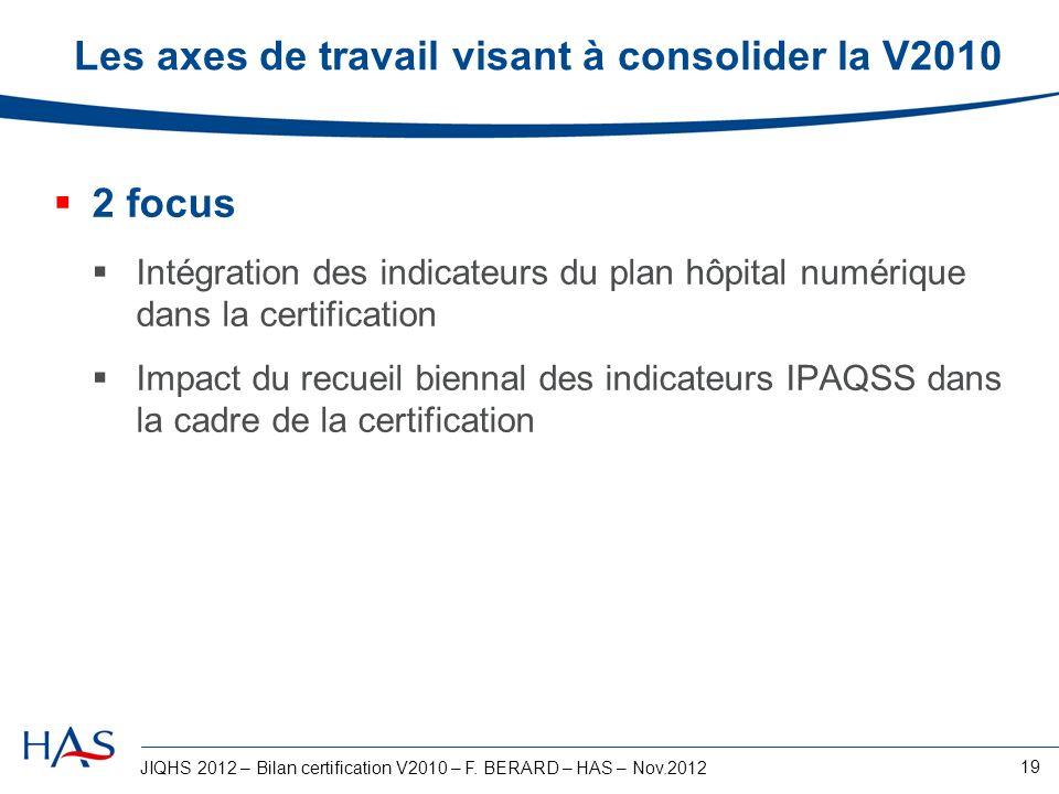 JIQHS 2012 – Bilan certification V2010 – F. BERARD – HAS – Nov.2012 19 Les axes de travail visant à consolider la V2010 2 focus Intégration des indica
