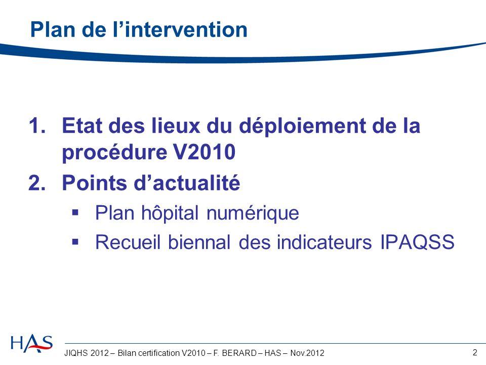 JIQHS 2012 – Bilan certification V2010 – F. BERARD – HAS – Nov.2012 2 Plan de lintervention 1.Etat des lieux du déploiement de la procédure V2010 2.Po
