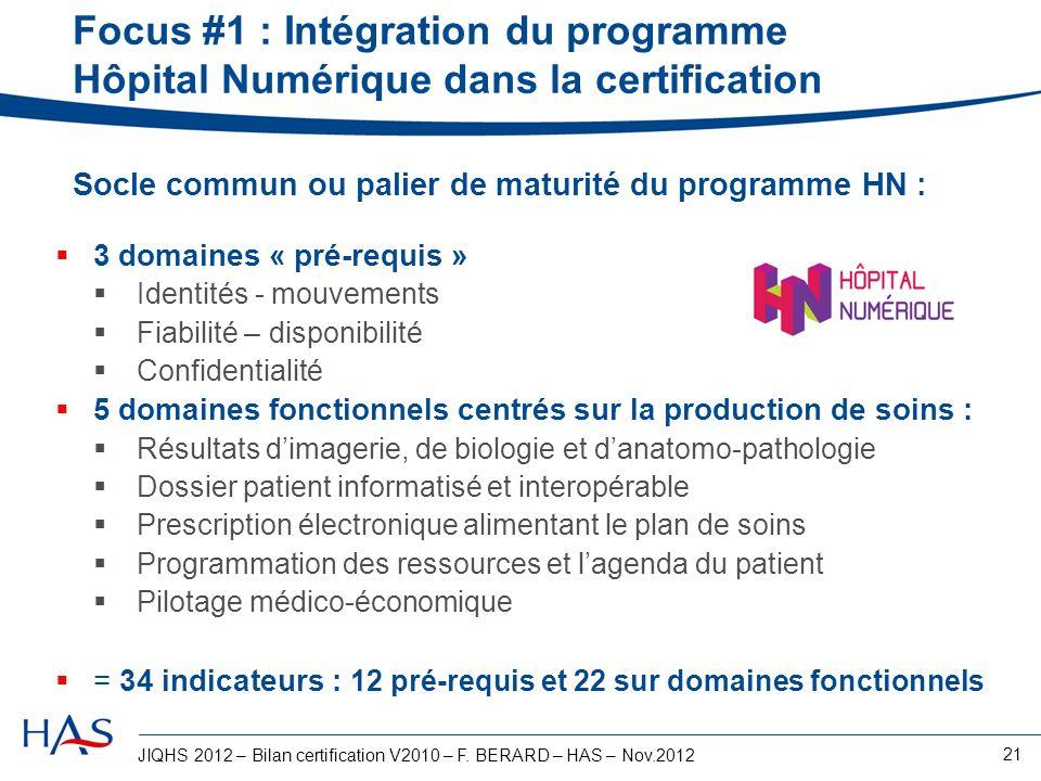 JIQHS 2012 – Bilan certification V2010 – F. BERARD – HAS – Nov.2012 21 3 domaines « pré-requis » Identités - mouvements Fiabilité – disponibilité Conf