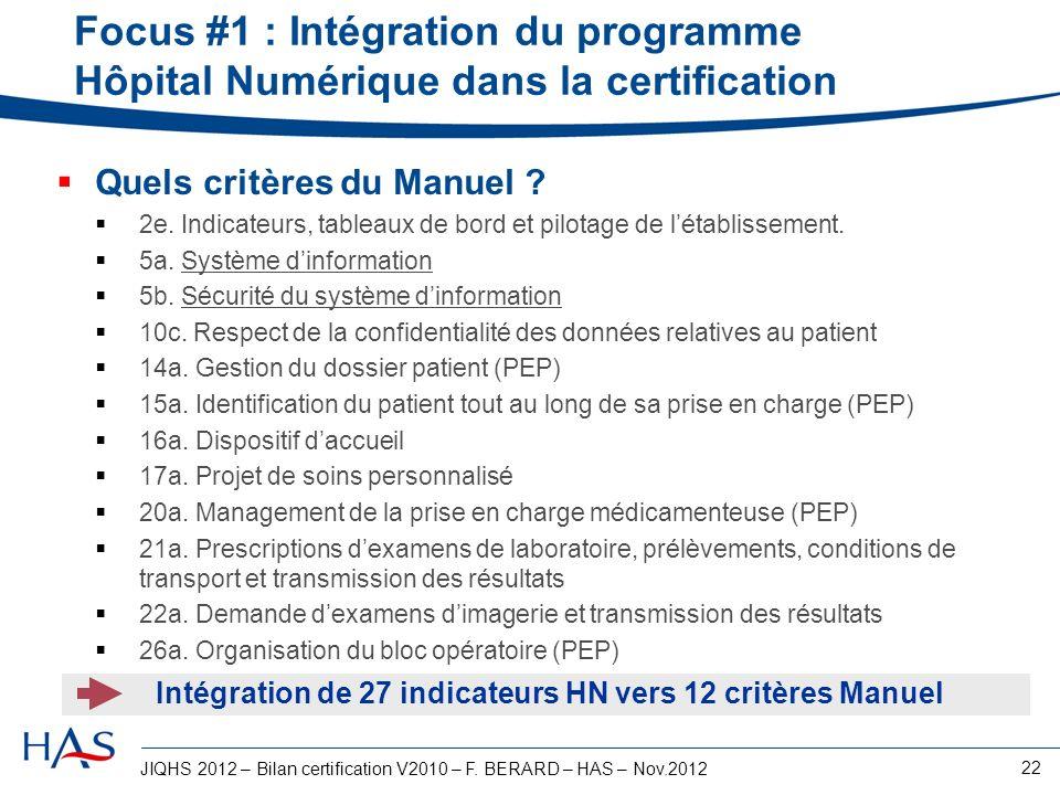 JIQHS 2012 – Bilan certification V2010 – F. BERARD – HAS – Nov.2012 22 Focus #1 : Intégration du programme Hôpital Numérique dans la certification Que