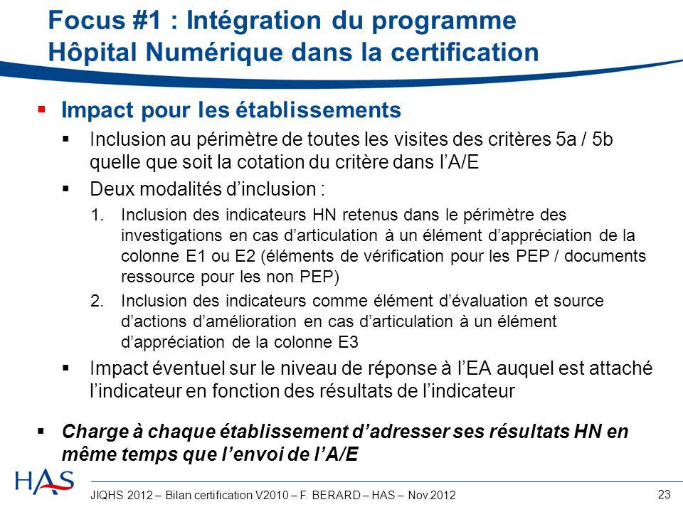JIQHS 2012 – Bilan certification V2010 – F. BERARD – HAS – Nov.2012 23 Focus #1 : Intégration du programme Hôpital Numérique dans la certification Imp