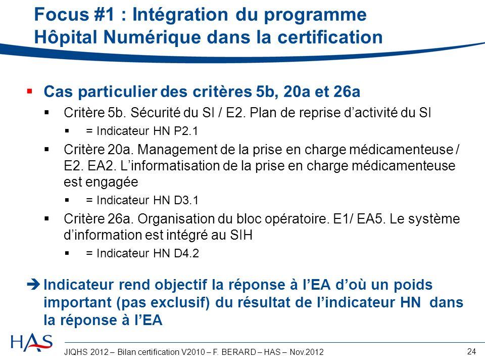 JIQHS 2012 – Bilan certification V2010 – F. BERARD – HAS – Nov.2012 24 Focus #1 : Intégration du programme Hôpital Numérique dans la certification Cas