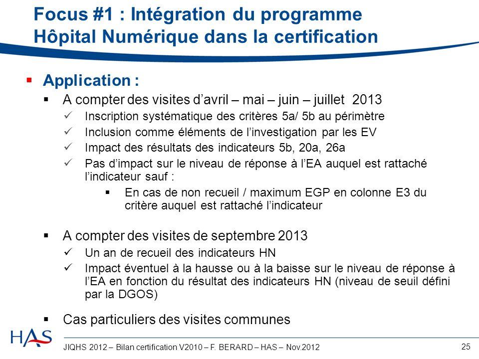 JIQHS 2012 – Bilan certification V2010 – F. BERARD – HAS – Nov.2012 25 Focus #1 : Intégration du programme Hôpital Numérique dans la certification App