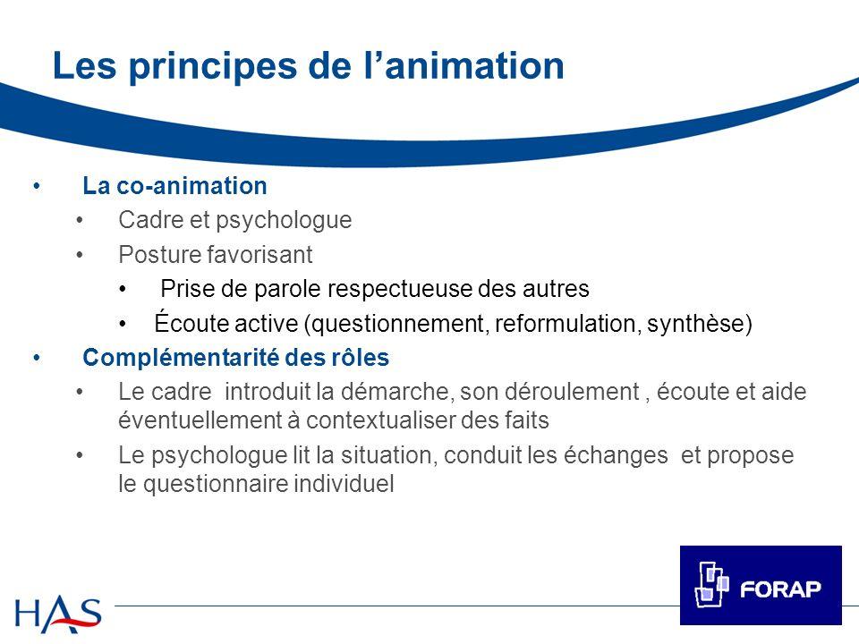 Les principes de lanimation La co-animation Cadre et psychologue Posture favorisant Prise de parole respectueuse des autres Écoute active (questionnem