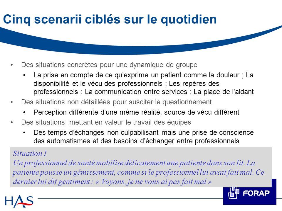 Cinq scenarii ciblés sur le quotidien Des situations concrètes pour une dynamique de groupe La prise en compte de ce quexprime un patient comme la dou