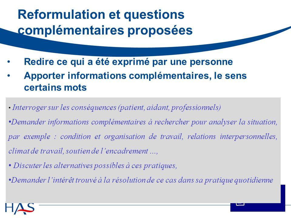 Reformulation et questions complémentaires proposées Redire ce qui a été exprimé par une personne Apporter informations complémentaires, le sens certa