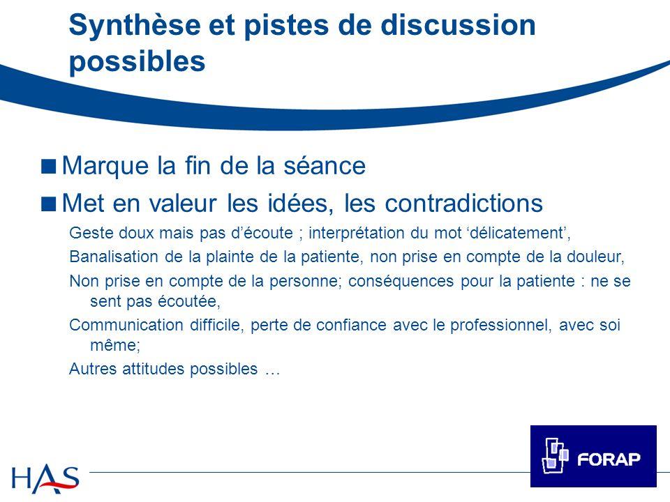 Synthèse et pistes de discussion possibles Marque la fin de la séance Met en valeur les idées, les contradictions Geste doux mais pas découte ; interp