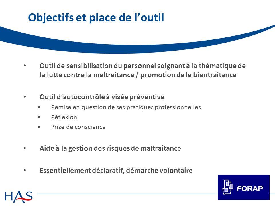 Objectifs et place de loutil Outil de sensibilisation du personnel soignant à la thématique de la lutte contre la maltraitance / promotion de la bient