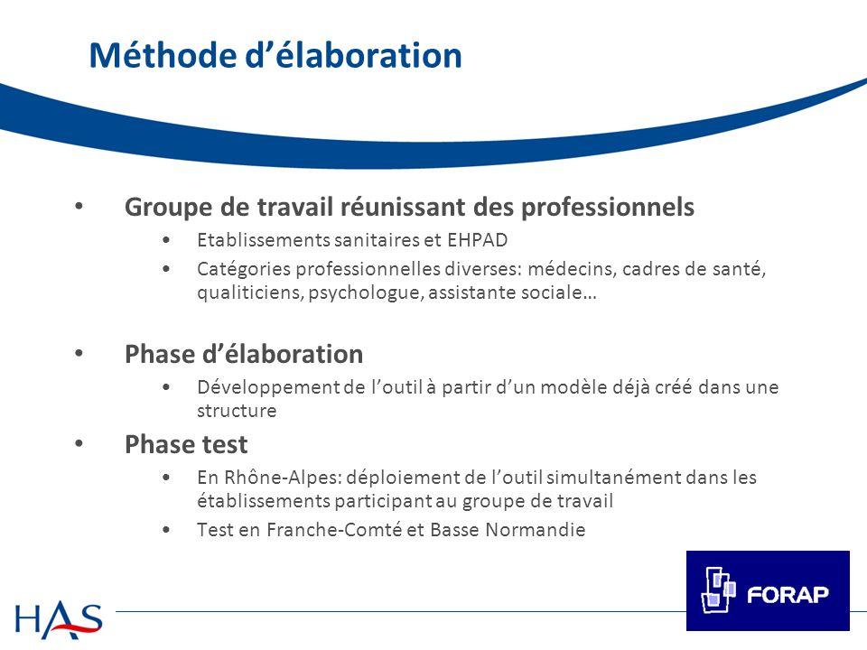 Méthode délaboration Groupe de travail réunissant des professionnels Etablissements sanitaires et EHPAD Catégories professionnelles diverses: médecins