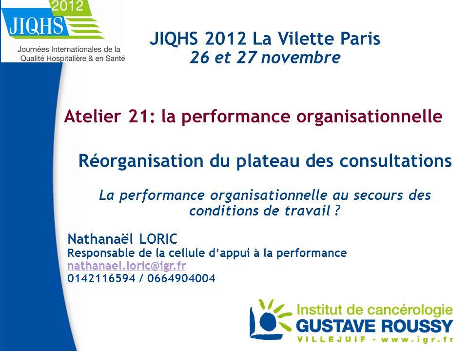 Atelier 21: la performance organisationnelle Réorganisation du plateau des consultations La performance organisationnelle au secours des conditions de