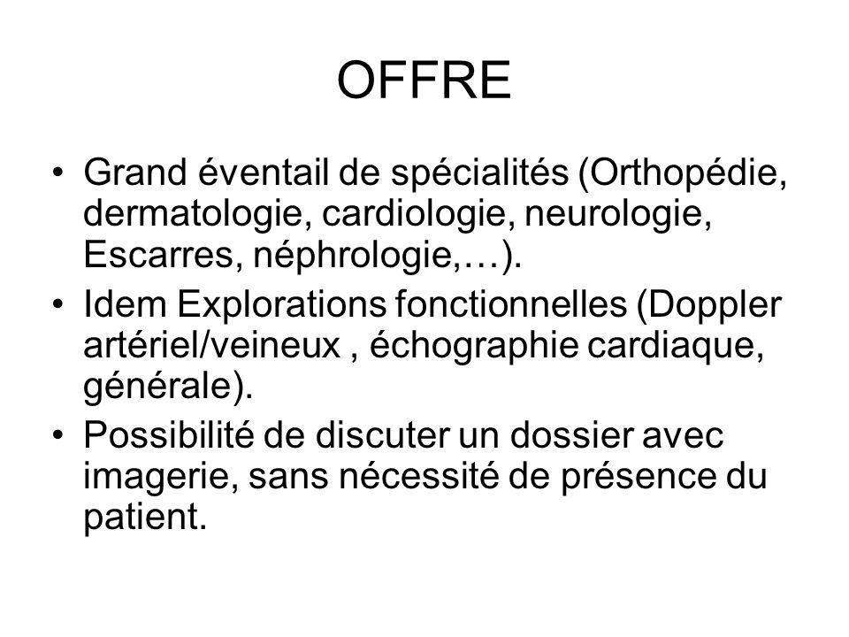 OFFRE Grand éventail de spécialités (Orthopédie, dermatologie, cardiologie, neurologie, Escarres, néphrologie,…).