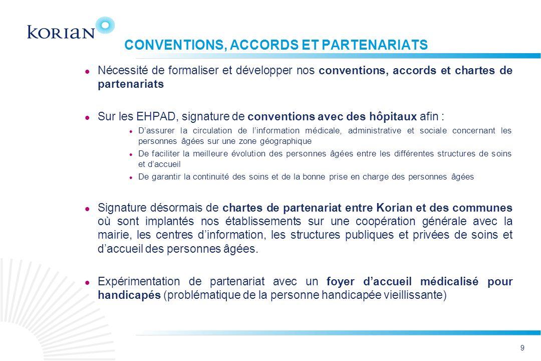 9 CONVENTIONS, ACCORDS ET PARTENARIATS Nécessité de formaliser et développer nos conventions, accords et chartes de partenariats Sur les EHPAD, signat