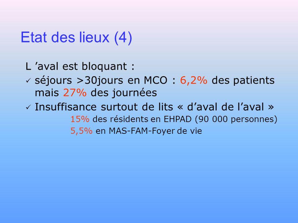 Etat des lieux (4) L aval est bloquant : séjours >30jours en MCO : 6,2% des patients mais 27% des journées Insuffisance surtout de lits « daval de lav
