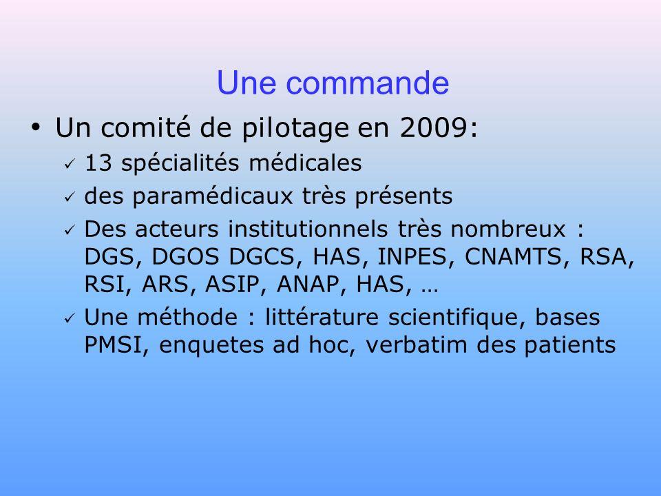 Une commande Un comité de pilotage en 2009: 13 spécialités médicales des paramédicaux très présents Des acteurs institutionnels très nombreux : DGS, D