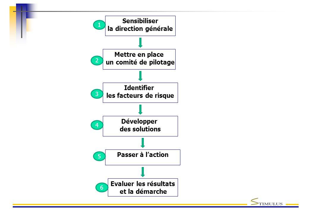 Sensibiliser la direction générale Mettre en place un comité de pilotage Développer des solutions Passer à laction Identifier les facteurs de risque E
